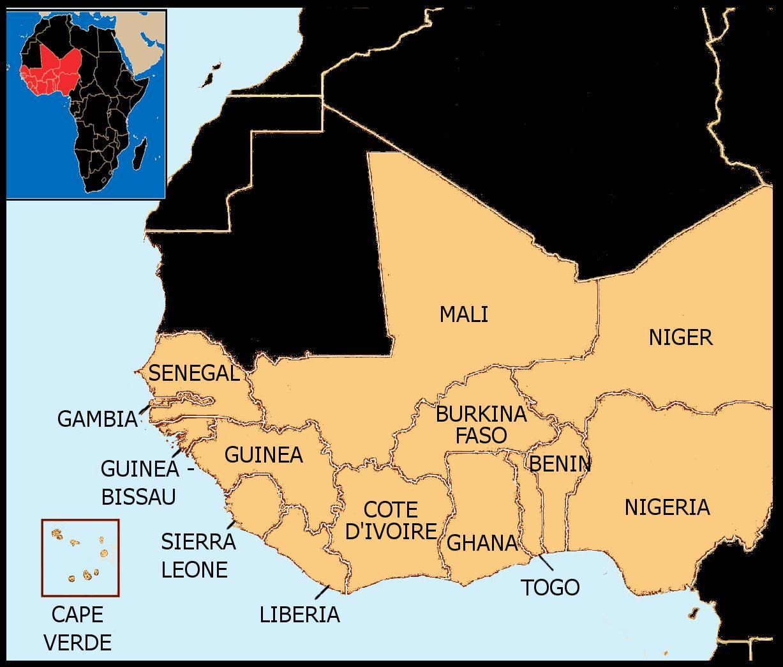 Senegal Kort Vest Afrika Kort Over Senegal Kort Vestafrika